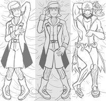 Maxie and Archie Dakimakura Sketch by ZoeStanleyArts