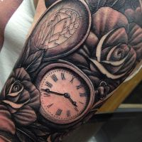 Pocket watch and roses tattoo sleeve Craig Holmes by CraigHolmesTattoo