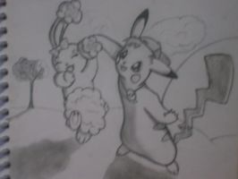 pikachu and buneary by MewXGirl