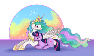 Celestia and Twilight by Amenoo