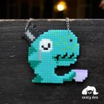 My Little Tea Rex Perler Hama Beads Necklace by zestyden