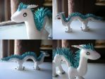 White And Blue Dragon Sculpture by Pinkfirefly135
