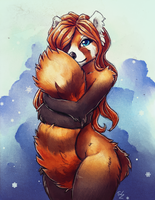 Warm Tail Hug by TasDraws