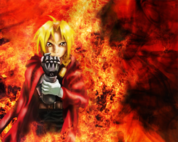 Edward Elric on Fire by Lalingla