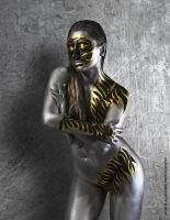 silver and gold body paint by ElizabethPetroumua