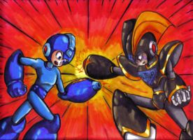 Megaman Vs. Bass by Fragraham