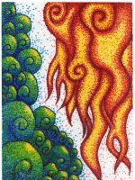 Pointillism: Waves And Flames by Sigoogle