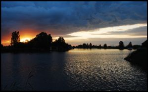Sunset on the River Vecht by jchanders
