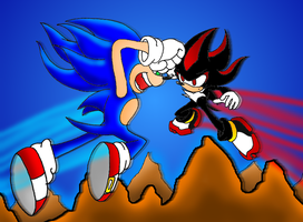 Sonic VS Shadow RQ by Mephilez