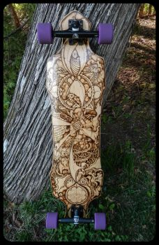 Longboard with Custom Pyrography by Hipnosha