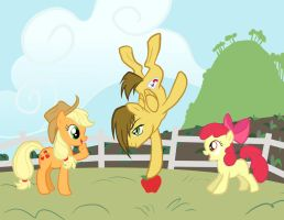 Trowa, Applejack and Applebloom by SapphireGamgee