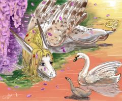 Nanae and the Swans by SilverFlight