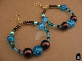 Brown and Blue Beaded Earrings by TheFuzzyPineapple