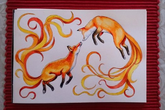 Jumping foxes - watercolour by EmiliaPaw5