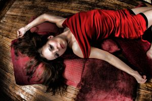 Lounging in Red Dress by Wuss-Lee