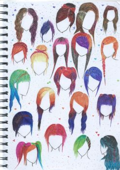 Ink pens - Hair styles by Mayble-Leaf