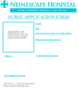 Nurse Application Sheet for Neinescape by KeireiChan