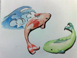 koi japanese water color paint by enterobius