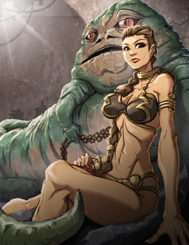Jabba and Leia by yezzzsir