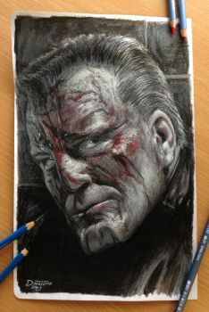 Marv/Sin City Color Pencil Drawing by AtomiccircuS