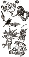 Black n White Pokemon Sketches by ColinMartinPWherman