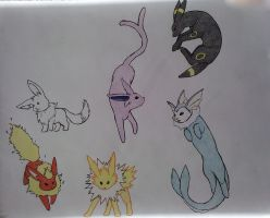 Eeveelutions all together by ShabbyTab