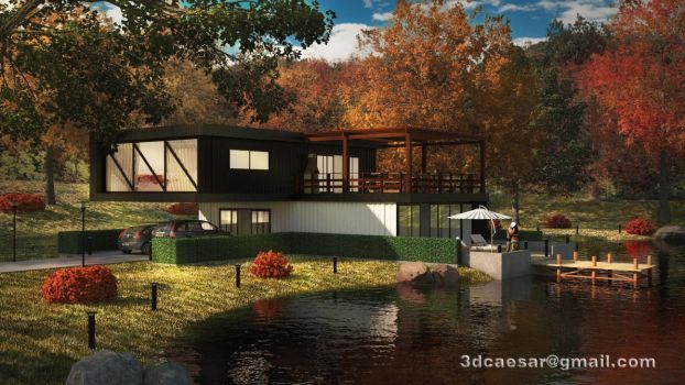 Lake house 3ds max + photoshop by Schatten-eX