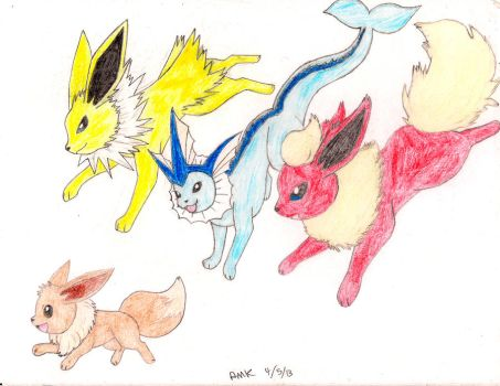 Eevee and the Original Three by Raysha-the-wolf