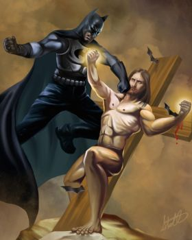 Batman vs. Jesus by Christopher-Stoll