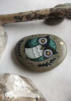 Water Owl Hand-painted Stone by JillHoffman