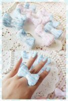 Baby Blue / Pastel Pink Lace Bow Rings by KeoDear