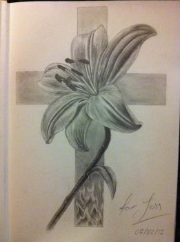 Flower and Cross Tattoo Design by No-Name-01