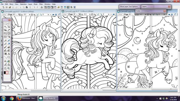 Carousel Coloring Book WIPs by YamPuff