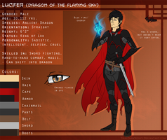 Lucifer (Dragon of the Flaming Sky) ref sheet by ThatDarkWolfy