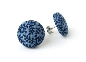 Dark blue button earrings - studs flower floral by KooKooCraft