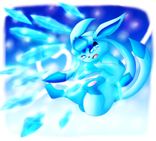 Glaceon channels Ice Shards! by lavaquil