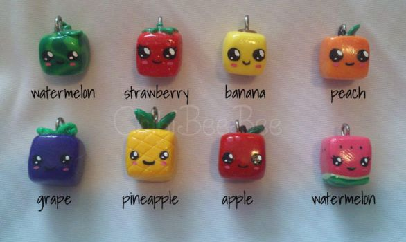 Assorted Cube Fruit Charms by ChibiBeeBee