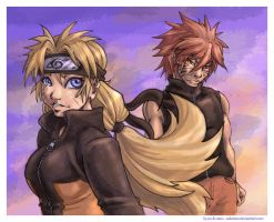 tripletsverse - naru and kyuu by askerian