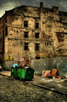 tramp and dilapidated building by gothic-wish
