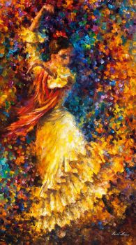 Flamenco And Fire by Leonid Afremov by Leonidafremov
