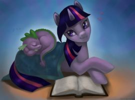 Twilight and Spike by stringmouse