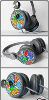 Hand painted Custom headphones by Ketchupize