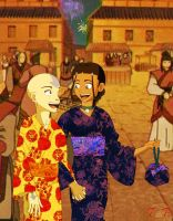 Aang and Katara at a Festival by T-f