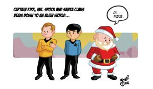 Kirk Spock and Santa Claus by Gamecreature