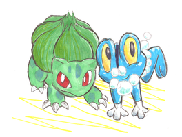 bubble frog and dino flower by the-Rose-of-Blue