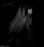 White on Black Canvas: Zachy With Wings by GingaAkam