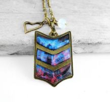 Handmade Resin Pink and Blue Nebula Necklace by crystaland