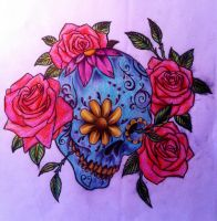 Sugar Skull and roses colour by CalebSlabzzzGraham