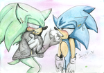Scourge x ClassicSonic - How Tiny by Jazz-M-Ink