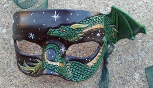 Green Copper Small Dragon Mask by merimask